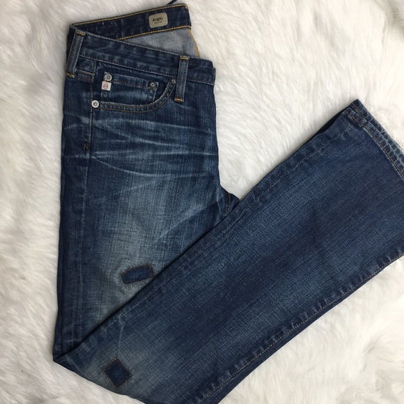 Ag Adriano Goldschmied Denim - AG the angel bootcut jeans distressed patches